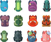 Backpacks for school and hiking. Vector illustration in flat style. Backpack, and rucksack for school and adventure travel