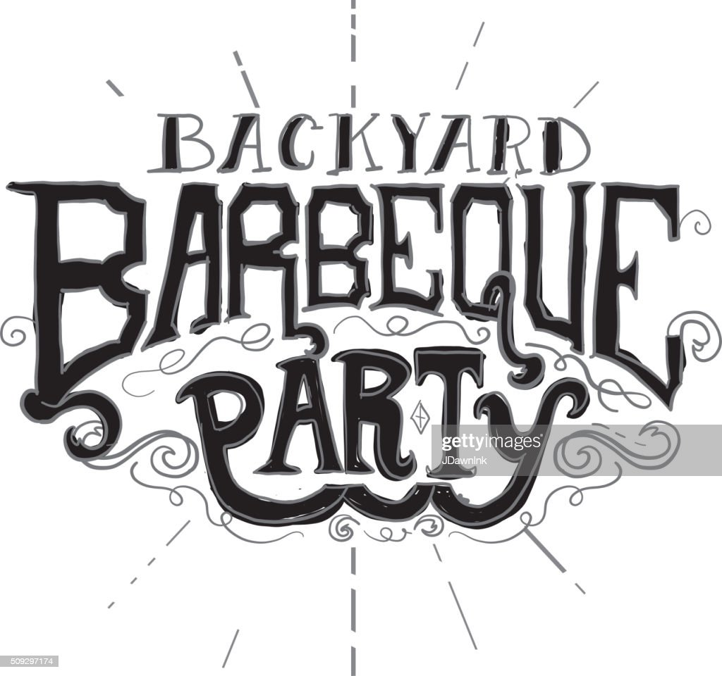 backyard barbeque party label on texture vector art getty images