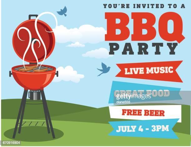 backyard bbq background invitation template