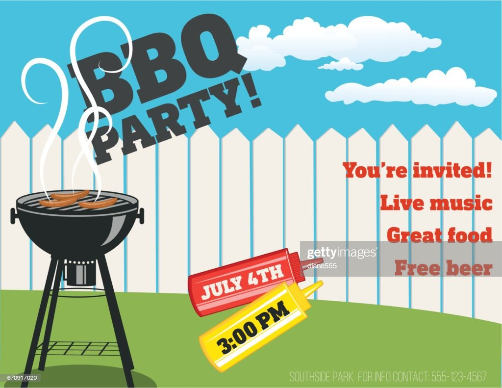 backyard bbq background invitation template vector art getty images