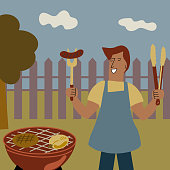 Young cheerful man makes barbecue in the backyard. BBQ time poster design. Vector cartoon illustration. - Vector