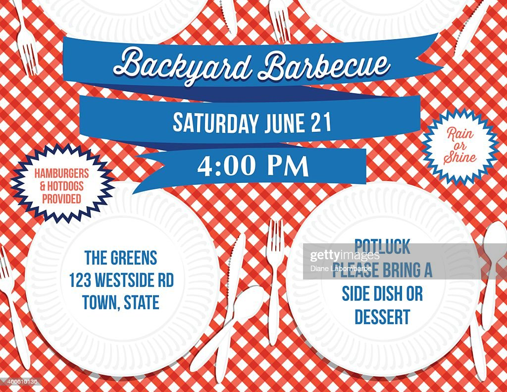 backyard bbq paper plate picnic table invitation template vector