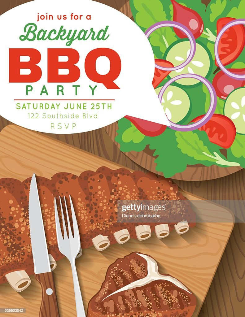 backyard bbq party invitation template vector art getty images