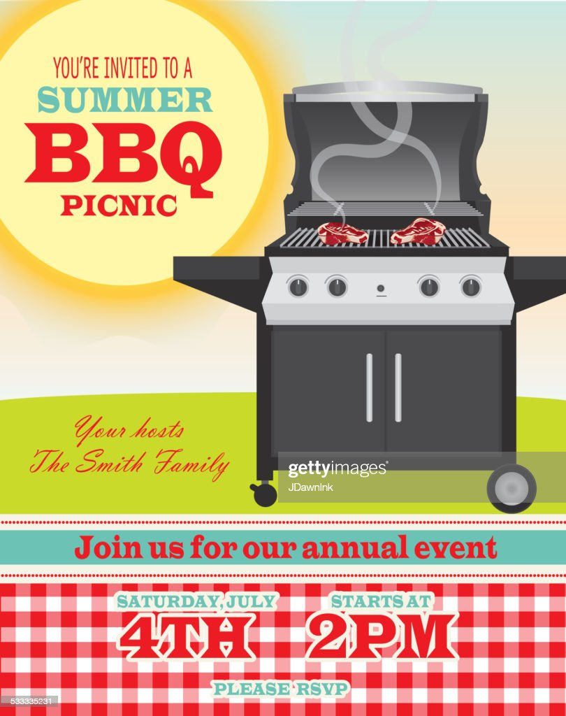 backyard bbq themed invitation template sun and red check