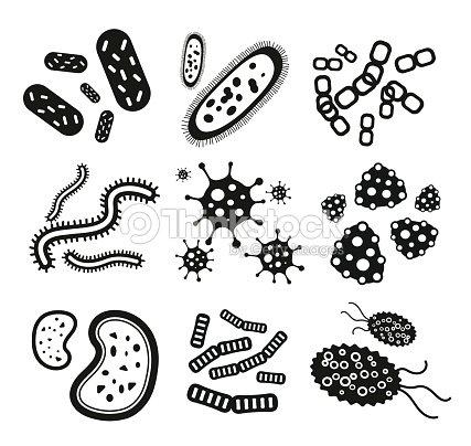 Bactéries Virus Noir Et Blanc Vector Icons Set clipart