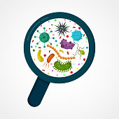 Bacterial microorganism in a circle. Bacteria and germs colorful set, micro-organisms, bacteria, viruses, fungi, protozoa under the rejuvenating glass,magnifier.Vector flat cartoon illustration icon