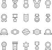 Badges awards vector outline stroke icon set