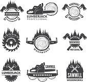 Badges set for wood working industry. Woodwork symbol emblem industry, lumberjack woodworking. Vector illustration