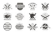 Badges set of baseball team. Graphic design for t-shirt. Black print on white background