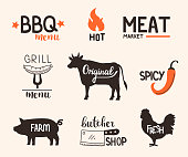 Food badges collection. Farm meat, bbq and grill labels. Hand drawn vector illustration.