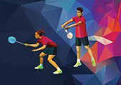 Polygonal professional badminton players, mixed doubles on colorful low poly background doing smash shot with space for flyer, poster, web, leaflet, magazine. Vector illustration