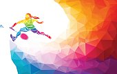Badminton sport invitation poster or flyer background with empty space, banner template in trendy abstract colorful polygon style. Vector illustration