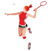Badminton Player  Summer Games Icon Set.3D Isometric Badminton Player.Sporting Championship International Badminton Competition.Sport Infographic Badminton Vector Illustration