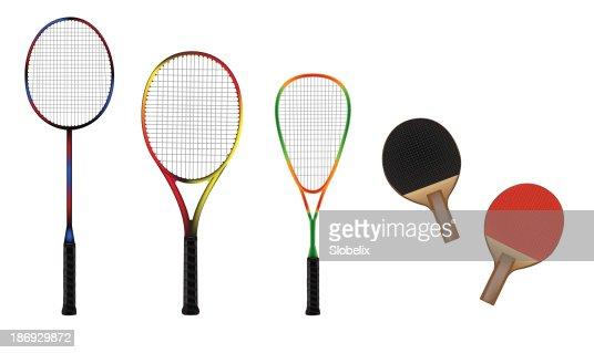 Badminton, tennis, squash and table-tennis equipment vector illustration : stock vector