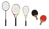 Badminton, tennis, squash and table-tennis equipment color vector illustration