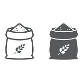 Bag of wheat line and glyph icon, farming and agriculture, grain bag sign vector graphics, a linear pattern on a white background, eps 10.