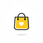 Bag shopping vector icon. Colored flat line vector illustration. Shopping bag vector in flat style on white background