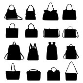 Set of black silhouettes of handbags, vector. Simple set of handbag for web design isolated on white background.