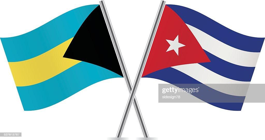 Bahamas And Cuba Flags. Vector.