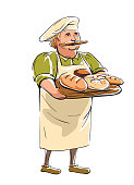 illustration of a Baker with a tray of bread in his hands