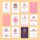 Bakery and pastry shop business cards, cafe poster, restaurant menu, food flyers. Artistic templates collection with hand drawn design elements, lettering, bakehouse logo, cake, pancake icons, sweets