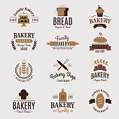 Bakery badge icon fashion modern style wheat vector retro food label design element confectioner sweet-shop loaf and bread logo. Classic graphic hight quality pastry wheat traditional food sticker.