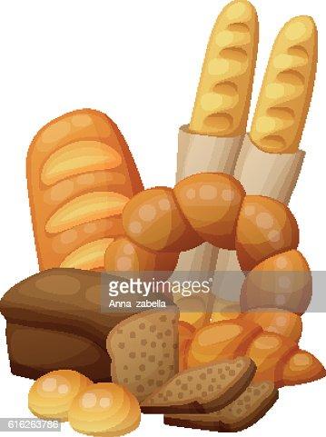 Bakery: bread, buns, croissant, loaf . Cartoon vector illustration isolated on : Vector Art