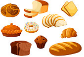 Bakery shop isolated vector flat icons. Baked bread products wheat, rye bread loafs, bagels, sliced bread toasts, croissant, chocolate muffin, donut, meat and fruit pie. Elements for bakery, pastry de