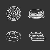 Bakery chalk icons set. Vector. Pizza, pancakes stack, pastry bread, eclair