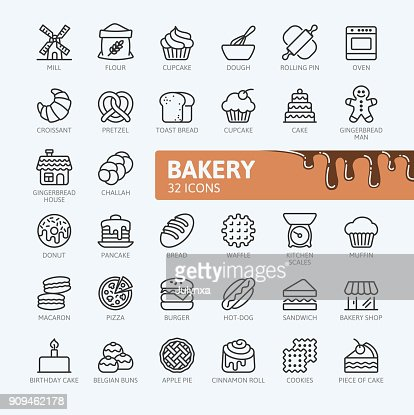 Bakery - outline icons collection : stock vector