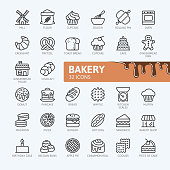 Bakery shop elements - minimal thin line web icon set. Outline icons collection. Simple vector illustration.