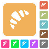 Bakery flat icons on rounded square vivid color backgrounds.