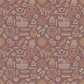 Bakery seamless pattern, food vector background. Confectionery products thin line icons - cake, croissant, muffin, pastry, cupcake, pie. Cute repeated illustration for sweet shop.