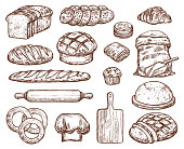 Bakery set with a lot of types fresh bread. Images for bakeshop or bakehouse. Cooking utensils for baking and wheat. Fresh pastry baguette, croissant, loaf, pancake, bun, cake, bread, bagel. Also wood