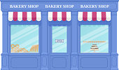 Bakery shop, storefront. Vector. Vintage store front. Facade retail building with window. Exterior house, retro street architecture. Cartoon illustration isolated in flat design.