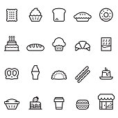 Bakery Thin Line icons