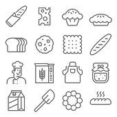 Bakery baker line icon set