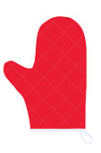 Baking Gloves Red Flat Icon On White Background