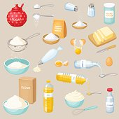 Baking ingredients set: sugar, salt, flour, starch, oil, butter, baking soda, baking powder, vinegar, eggs, whipped cream. Baking and cooking ingredients vector illustration. Kitchen utensils. Food