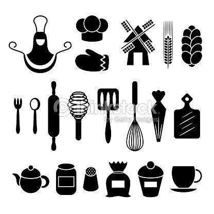 Modelli set di strumenti di cottura cucina arte vettoriale for Strumenti di cucina