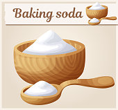 Baking soda. Cartoon vector icon. Series of food and drink and ingredients for cooking