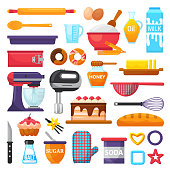 Baking vector kitchenware and food bakery ingredients for cake illustration caking set of cooking cupcake or pie with cookware in kitchen isolated on white background.