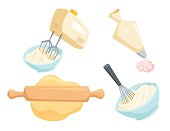 Baking set. Mixer or whisk whipped cream, roll out dough with rolling pin, decorate cakes with cream from pastry bag. Bakery process vector illustration. Kitchenware, cooking utensil isolated on white