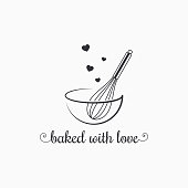 baking with wire whisk logo on white background 8 eps