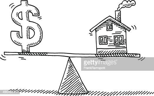 Balance Concept Money Real Estate Drawing Vector Art
