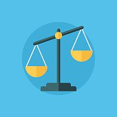 Balance icon. Law balance symbol. Justice scales icon. Flat design vector illustration.