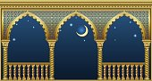 Balcony of a fabulous palace in oriental style with a view of the night sky. Vector graphics