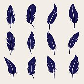Ball pen feather sketch icons set. Vector illustration