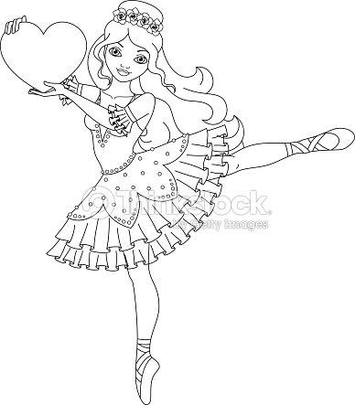 Ballerina Coloring Page stock vector