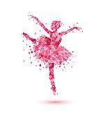 Vector ballerina silhouette of pink rose petals